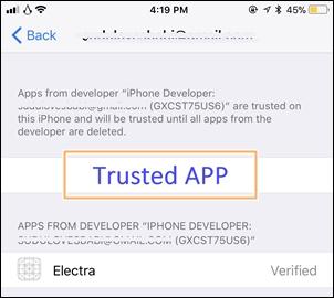trust the Electra app