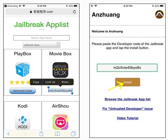 Jailbreak app anzhuang