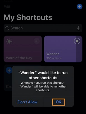 Allow other Shortcut