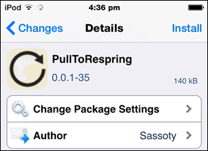Pull To Respring Cydia tweak for iOS 14.2